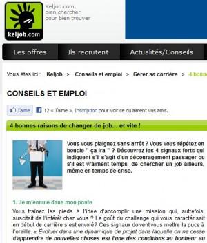Quelles bonnes raisons de changer de job? ITW sur Keljob
