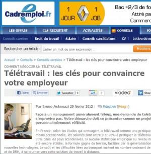 Négocier un télétravail: Itw sur Cadremploi