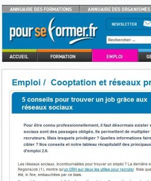 Trouver un job grâce aux réseaux sociaux, interview de Sylvaine Pascual sur pourseformer.com