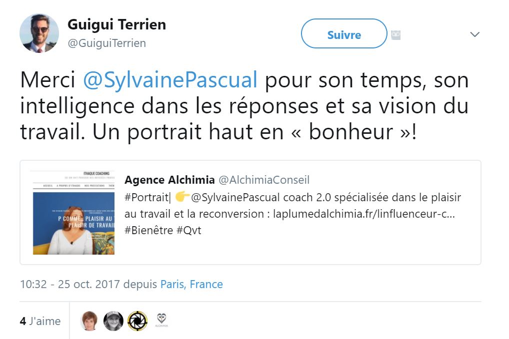 Tweet portrait Sylvaine Pascual Alchimia